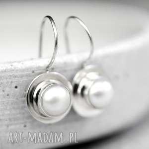 Prezent 925 Srebrne kolczyki Perły III, biżuteria, masa, perłowa, perły, ślub