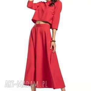 Bluzka w stylu topu z rękawem 3 4, t286, czerwony bluzki tessita