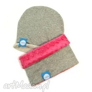 ręcznie zrobione ubranka zestaw komin z czapką minky