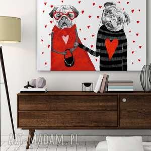 Obraz na płótnie - 100x70cm MOPSY LOVE 02136 wysyłka w 24h, obraz, mopsy, pies, serca