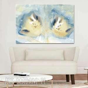 Obraz na ścianę niebieska akwarela tulipany 120 x 80, nowoczesny