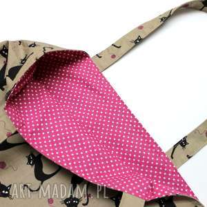 ręcznie robione torba bawełniana - koty i kropeczki różowe
