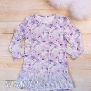 bluza tunika dziewczęca w łabędzie rozmiar 98-116, sukienka, tunika, ubrania