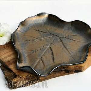 ceramika tyka patera ceramiczna - talerz dekoracyjny liść, ceramika