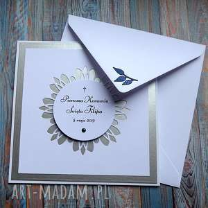 hand made zaproszenie srebrne zaproszenia w komplecie