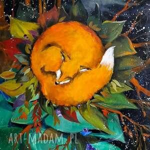 lisia noc obraz akrylowy na płótnie 100x70cm artystki adriany laube, lis