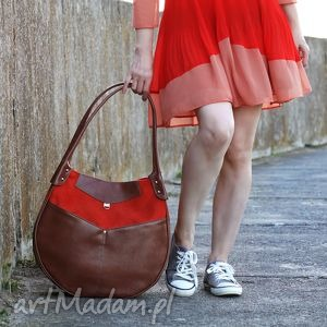 kaya - duża torba pomarańczowa, duża, pakowna, elegancka, ekoskóra, prezent