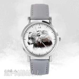 Prezent Zegarek - Niedźwiedź szary, skórzany, zegarek, bransoletka, skórzany