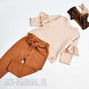 ręczne wykonanie zestaw dla dziewczynki spodnie bluzeczka i opaski