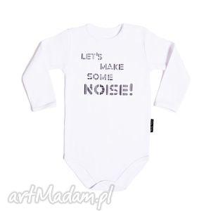 Białe body dla dzieci i niemowląt z długim rękawem - NOISE, body, bodziaki, napis