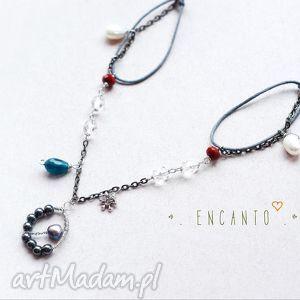 contemporary glam - naturalne, perły, hematyt, kryształ, jadeit, wirewrapping