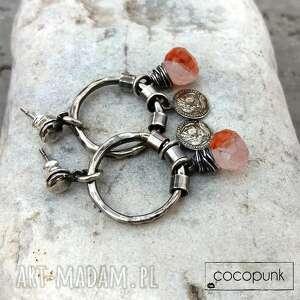 cocopunk kwarc z karneolem i srebro - kolczyki boho - kolczyki koła