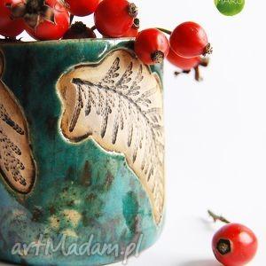 ceramiczny pojemnik, kubek, tuja, ceramika, rękodzieło, handmade dom