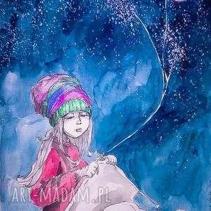 obrazy sweter z księżyca akwarela artystki plastyka adriany laube