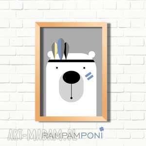 pokoik dziecka plakat dla dzieci miś indianin a4, miś, plakat, pokoik, ozdoba