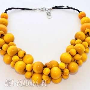 Żółte korale drenwniane, kolia, stal szlachetna pmpb style