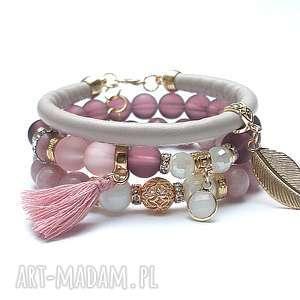 Antique pink vol. 10 - BOHO /04.01.18/, jadeity, szkło, rzemień, rodonity, chwost