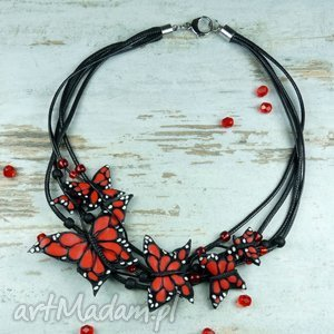czerwono czarny naszyjnik z motylami - motyl, motyle, naszyjnik, kolia, biżuteria