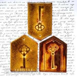 ceramika 3 x zawieszka ceramiczna, klucz, drzwi, zamek, ceramiczne, domek