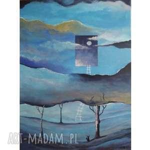 Obraz na płótnie -SEN- ABSTRAKCJA 30/40 cm, las, drzewa, kot, sen, niebieski, szary