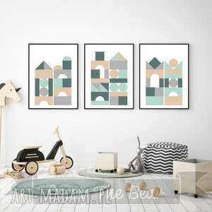 oscar the bear zestaw plakatów dla dzieci klocki a4, plakaty, obrazki, dekoracja