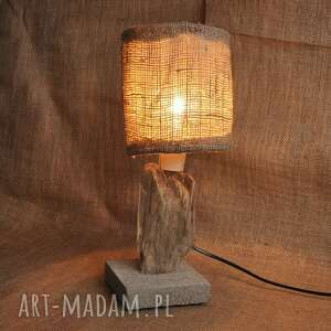lampa z drewna i betonu /1/, retro, loft, unikat, lampa, drewno, beton, juta