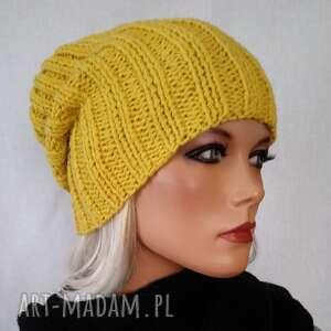 czapki czapka hand made żółta, ręcznie robiona czapka, ciepła modna
