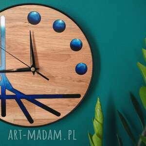 zegar z drewna dębowego luppiter, zegar, drewno, żywica epoksydowa, kosmos