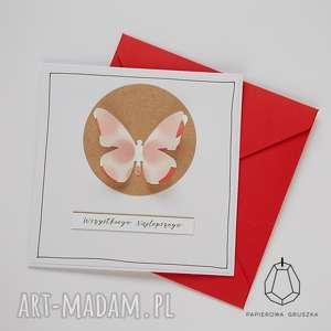 papierowa gruszka kartka z motylkiem, kartka, urodzinowa, urodziny, motyl