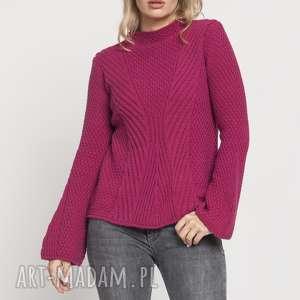 mkm swetry sweter z delikatną stójką, swe175 amarantowy mkm, sweter