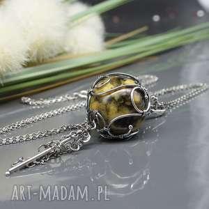 wisiorki bursztynowa kula - wisior baltic 5, naszyjnik, srebro, wirewrapping