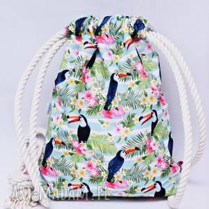 ręcznie robione workoplecak wodoodporny, worek plecak, torba na plecy, worek ze sznurami, plecak