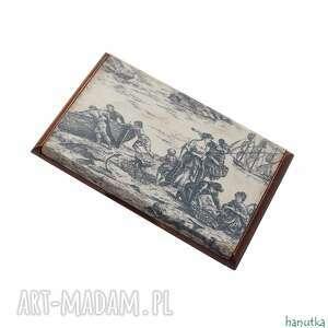 ręcznie robione etui toile de jouy - wizytownik, na karty płatnicze