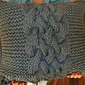 Poduszka splatana inaczej, sznurek-bawełniany, reczna-robota, druty
