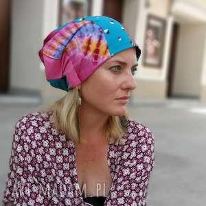 ręcznie robione czapki czapka patchworkowa kolorowa damska przejściówka