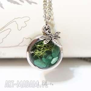 naszyjnik - ważka awenturyn zielony i mech, naszyjnik, medalion, wisior