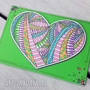 kartki zielona kartka z serduszkiem, kartka, gratulacje, miłość, serce, walentynka