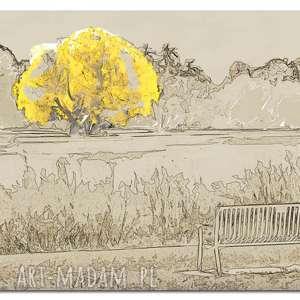 drzewo 26 -120x70cm obraz na płótnie design żółte beż, drzewo, design, żółte