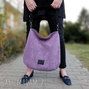 na ramię hobo xxl kolor fiołkowy fiolet seria kropki, duża torebka, torebka