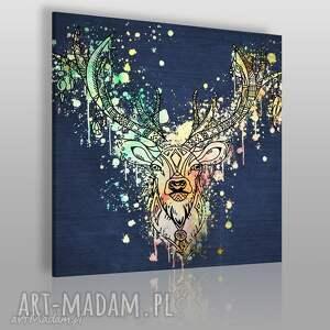 obraz na płótnie - jeleń boho kolorowy w kwadracie 80x80 cm 49603, jeleń
