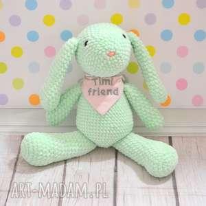 maskotki szydełkowy miętowy króliczek - duży, królik, szydełkowy, personalizacja