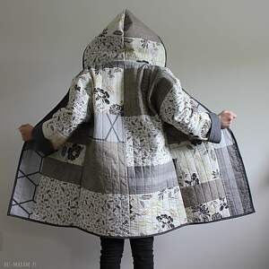płaszcz patchworkowy długi z kapturem - waciak - płaszcz, folk boho patchwork