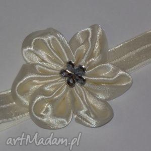 bukiet-pasji opaska dla dziewczynki z kwiatuszkiem - chrzest, kwiatek preent