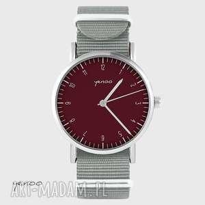 zegarek - simple elegance, bordo szary, nato, zegarek, nylonowy