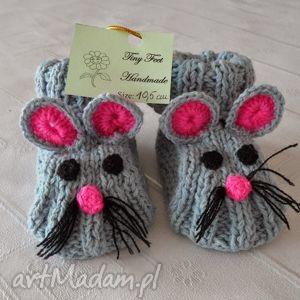 buciki dziecięce - myszki szaro-różowe, buciki, kapciuszki, niemowlęce