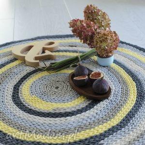 kolorowy dywan 100 cm , żółty, szary, sznurek, ekologiczny
