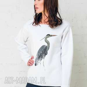 bluzy heron oversize bluza, oversize, biała, casual, bawełna, moda, oryginalny