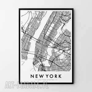 plakat obraz mapa nowy jork 50x70 cm b2, grafika, obraz, plakat, mapa
