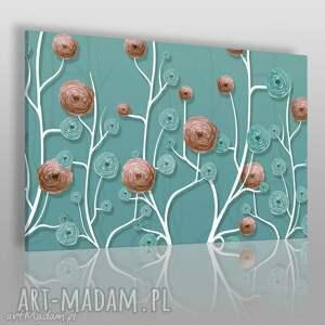 hand made obrazy obraz na płótnie - kwiaty róż turkus - 120x80 cm (45201)