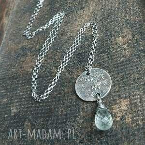 naszyjniki naszyjnik srebrny z fasetowaną kroplą zielonego ametystu